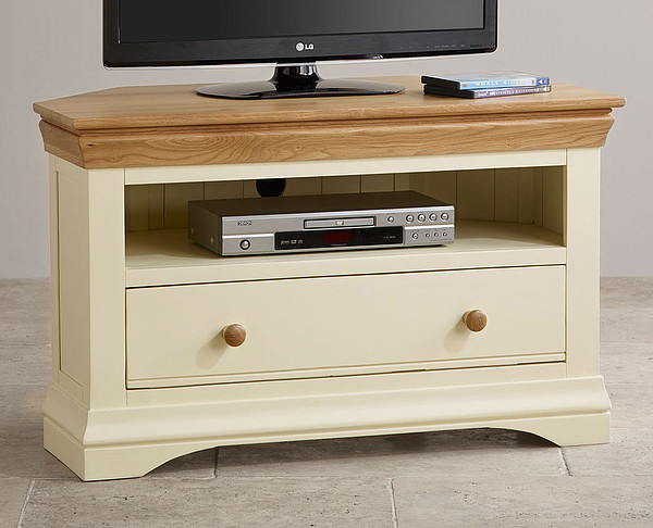 Country Cottage Natural Oak and Painted Corner TV Cabinet