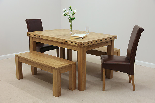 """Furniture 4ft 7"""" x 3ft Solid Oak Dining Table + 2 x 3ft 7"""" Benches and 2 x Brown Scroll Back Leather Chairs"""