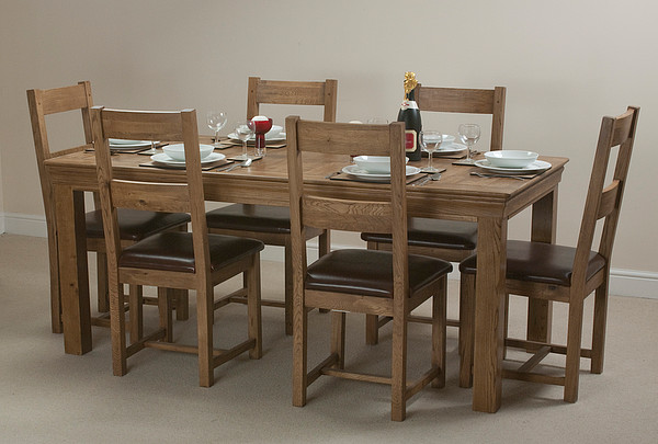French Farmhouse Rustic Solid Oak 6ft Dining Table
