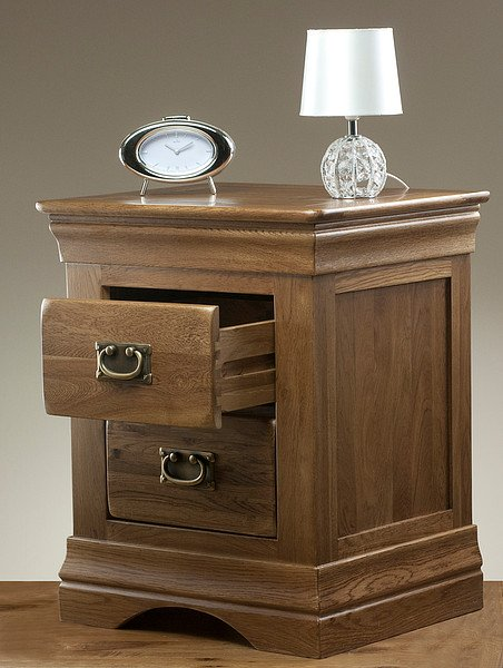 Rustic Wood Bedside Table: French Farmhouse Rustic Solid Oak Bedside Table