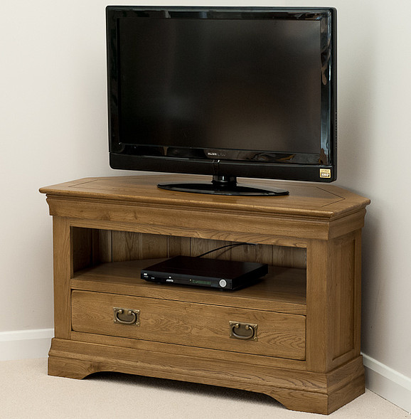 french farmhouse rustic solid oak corner tv cabinet. Black Bedroom Furniture Sets. Home Design Ideas