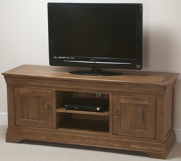 French Farmhouse Rustic Solid Oak Widescreen TV Cabinet