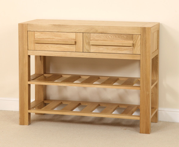 Fresco Solid Oak 2 Drawer Console Hallway Table