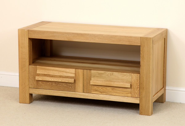 Fresco Solid Oak 2 Drawer TV Cabinet