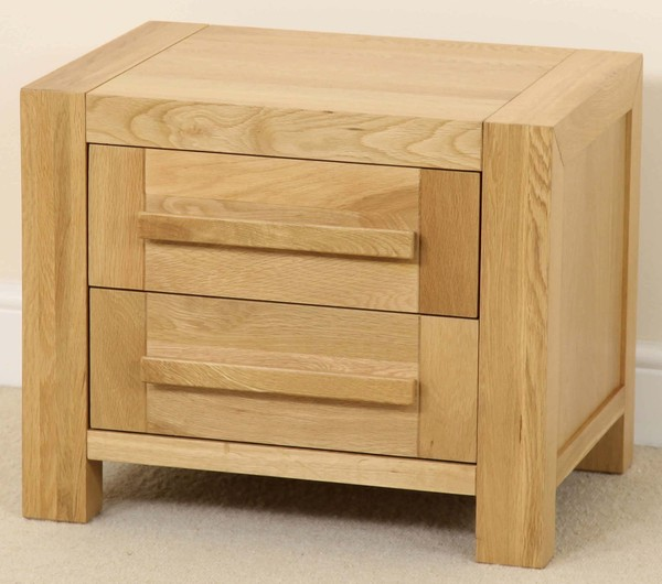 Fresco Solid Oak 2 Drawer Bedside Chest
