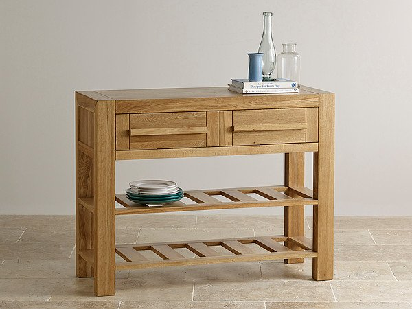 Fresco Natural Solid Oak 2 Drawer Console Table