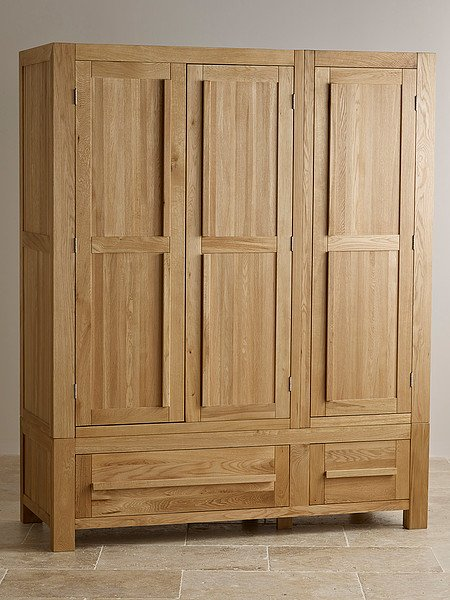 Fresco Natural Solid Oak Triple Wardrobe
