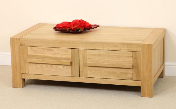 Fresco natural solid oak 2 drawer storage coffee table for Solid oak coffee table with storage