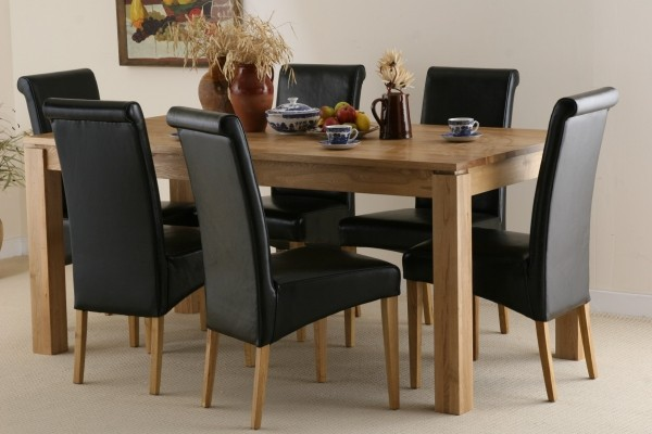 "Galway 6ft x 2ft 8"" Natural Solid Oak Dining set + 6 Black Scroll Back Real Leather Chairs"