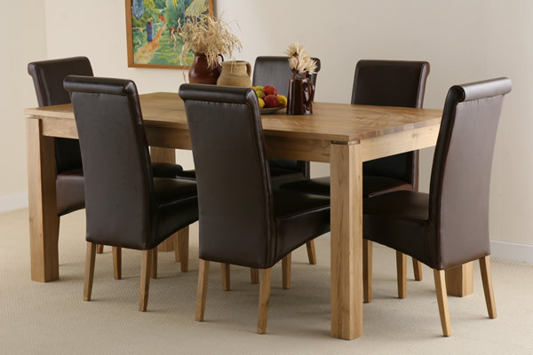 Galway 6ft x 2ft 8″ Natural Solid Oak Dining Table + 6 Brown Scroll Back Real Leather Chairs