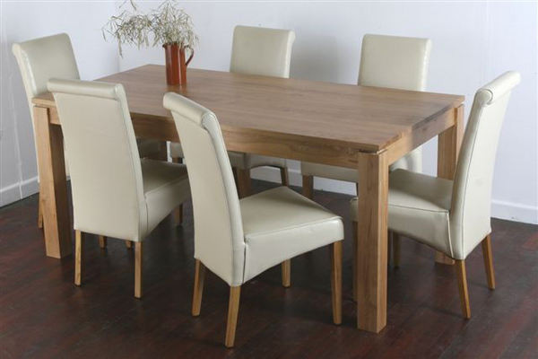 "Galway 6ft x 2ft 8"" Natural Solid Oak Dining Table + 6 Cream Scroll Back Leather Chairs"