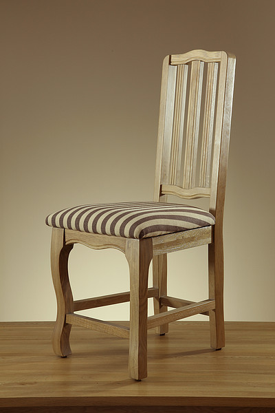 Grace Solid Washed Oak and Brown Stripe Fabric Dining Chair