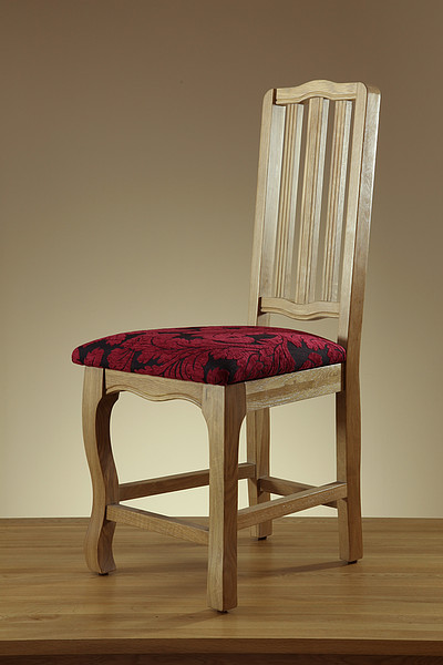 Grace Solid Washed Oak and Patterned Aubergine Fabric Dining Chair