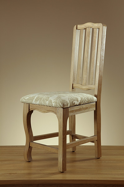 Grace Solid Washed Oak and Patterned Beige Fabric Dining Chair