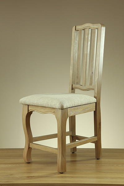 Grace Solid Washed Oak and Plain Beige Fabric Dining Chair