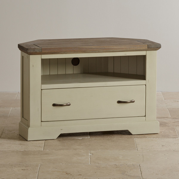 Isabella Brushed Acacia and Painted Corner TV Cabinet