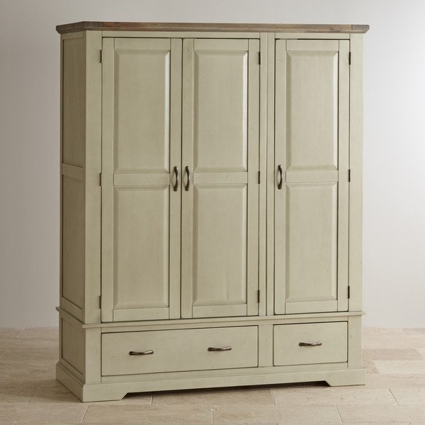 Isabella Brushed Acacia and Painted Triple Wardrobe