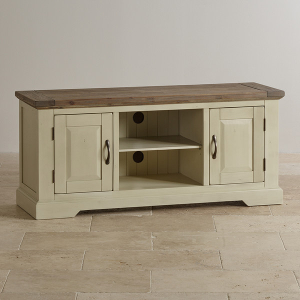 Isabella Brushed Acacia and Painted Widescreen TV Cabinet