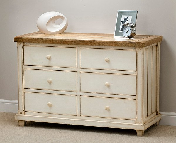 Baku Cream Painted Mango 6 Drawer Chest