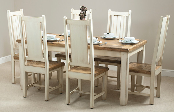 Shabby Chic Solid Mango 5ft 6 X 2ft 7 Dining Table 6 Cream Painted Mango  Chairs Part 48