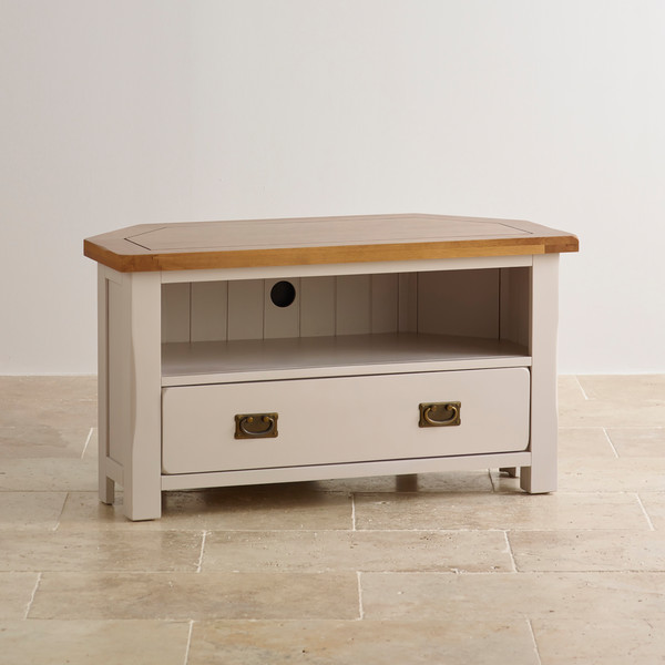 Kemble Rustic Solid Oak and Painted TV Corner Cabinet
