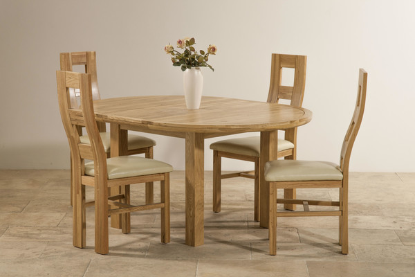 Knightbridge 5ft 3 Solid Oak Round Extending Dining Table  4 Cream Wave Back Leather Chairs