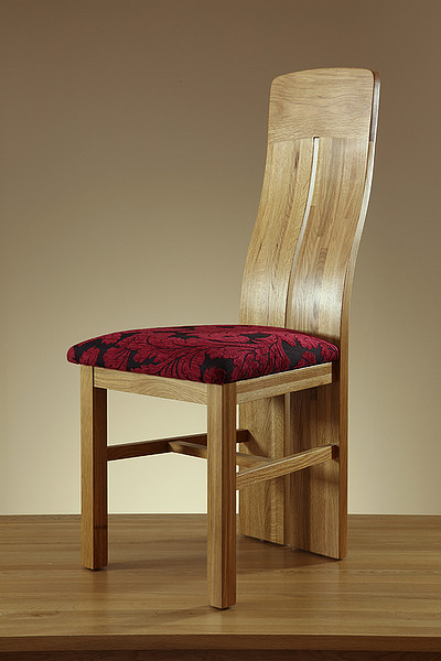 Lily Natural Solid Oak and Aubergine Patterned Fabric Dining Chair