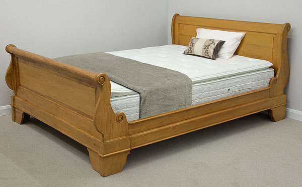 Louis Philippe Solid Amber Mango 6ft Super King-Size Bed with High Footboard