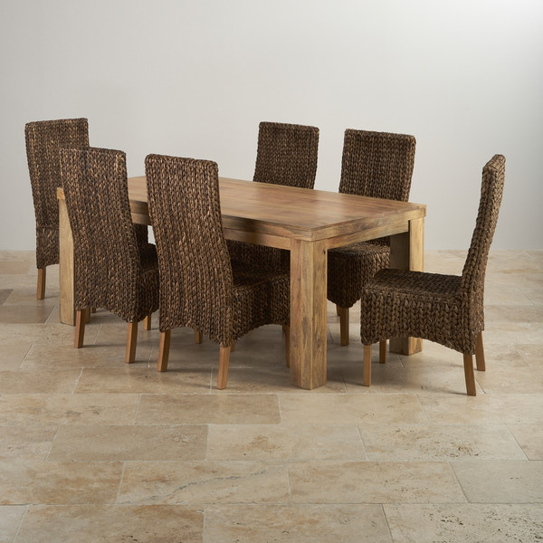 Mantis Light Dining Set In Natural Mango Table 6 Chairs