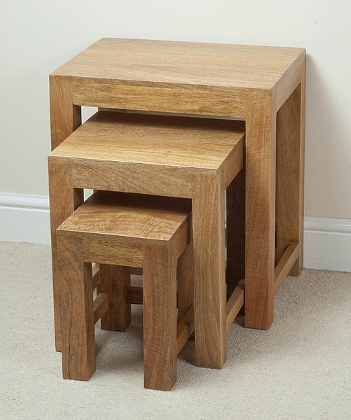 mantis light natural solid mango nest of tables. Black Bedroom Furniture Sets. Home Design Ideas