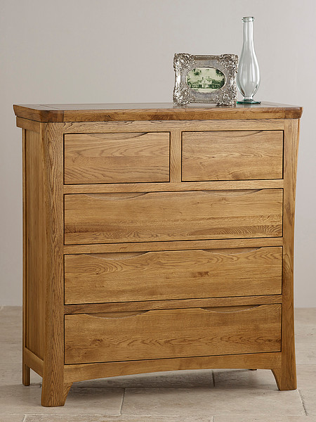 Orrick Rustic Solid Oak 3+2 Chest of Drawers