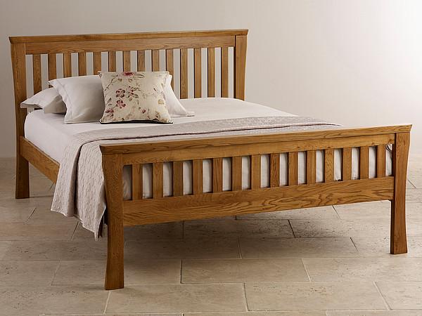 Orrick Rustic Solid Oak Double Bed
