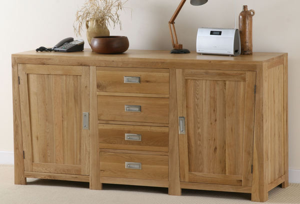 Oak furniture land jakarta solid oak large sideboard for Oak furniture land