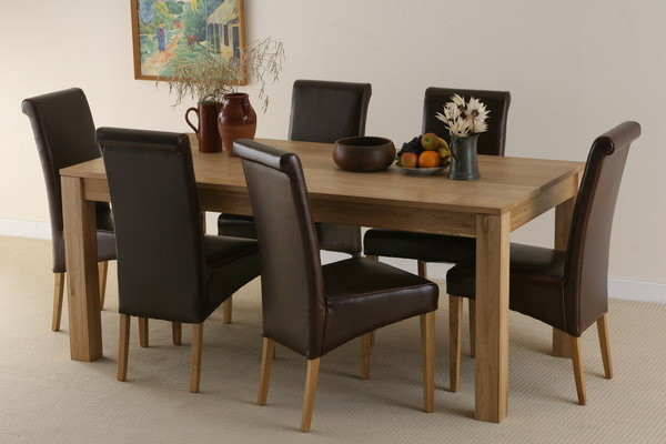 Oakdale Solid Oak 6ft x 3ft Dining Table + 6 Scroll Back Leather Chairs