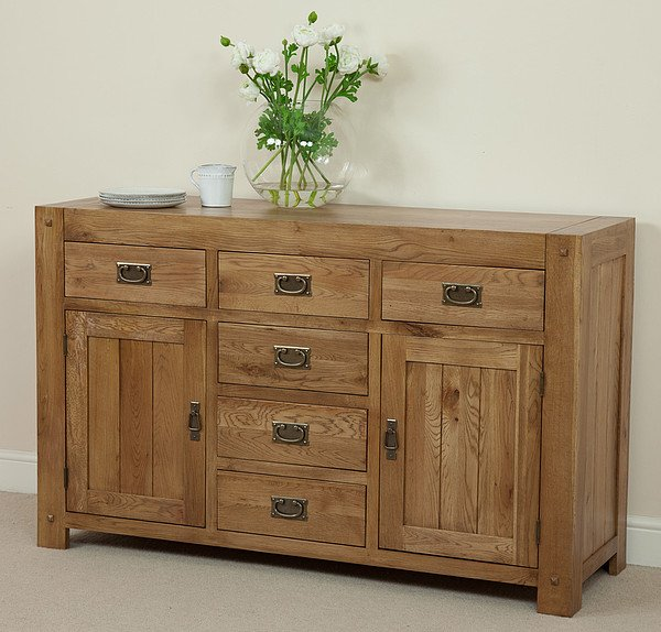 Quercus Solid Oak 6 Drawer 2 Door Sideboard
