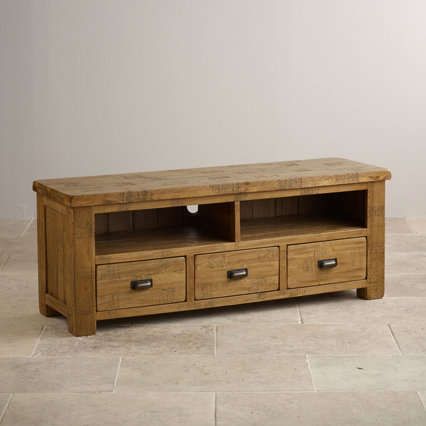 Ripley Rough Sawn Solid Oak Wide TV Cabinet
