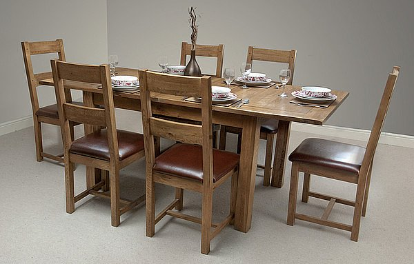 """Furniture 4ft 3"""" x 3ft Rustic Solid Oak Extending Dining Table + 6 Oak Chairs"""