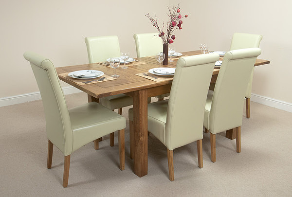 """Furniture 4ft 3"""" x 3ft Rustic Solid Oak Extending Dining Table + 6 Cream Leather Scroll Back Chairs"""