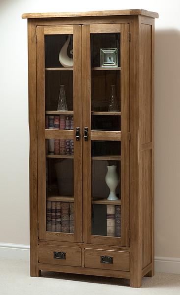 Rustic Solid Oak Glazed Display Cabinet