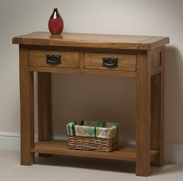 Original Rustic Solid Oak 2 Drawer Console Table