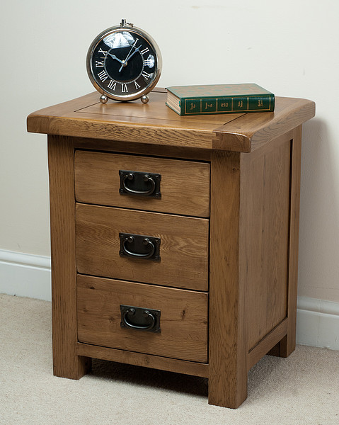 3 Drawer Bedside Cabinet Solid Oak 3 Drawer Bedside