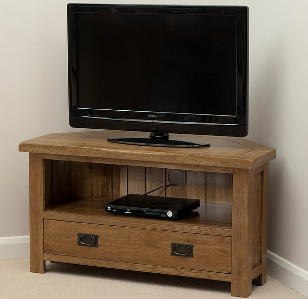 Original Rustic Solid Oak TV Corner Cabinet