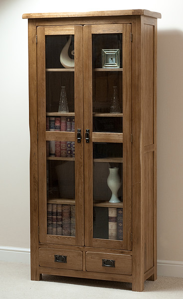 Original Rustic Solid Oak Glazed Display Cabinet