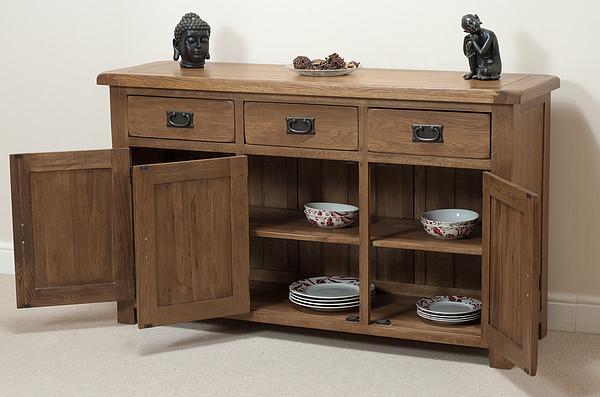 Large Rustic Sideboard In Solid Oak Oak Furnitureland