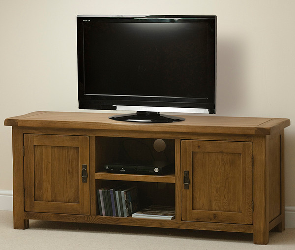 Original Rustic Solid Oak Widescreen TV Cabinet