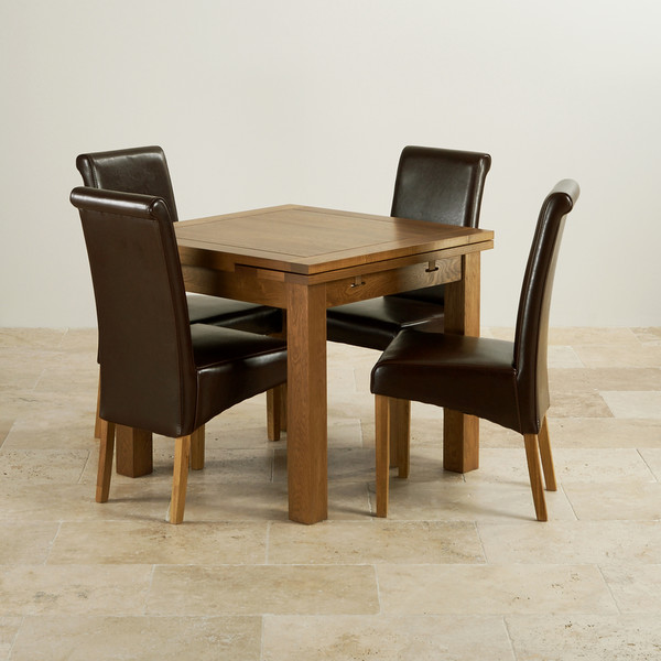 Rustic Oak Extending Dining Set   3ft Table   4 Leather Chairs. Oak Dining Table And Chairs. Home Design Ideas