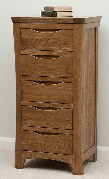 Orrick Rustic Solid Oak Tall 5 Drawer Chest