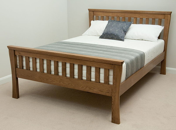 Orrick Rustic Solid Oak King Size Bed