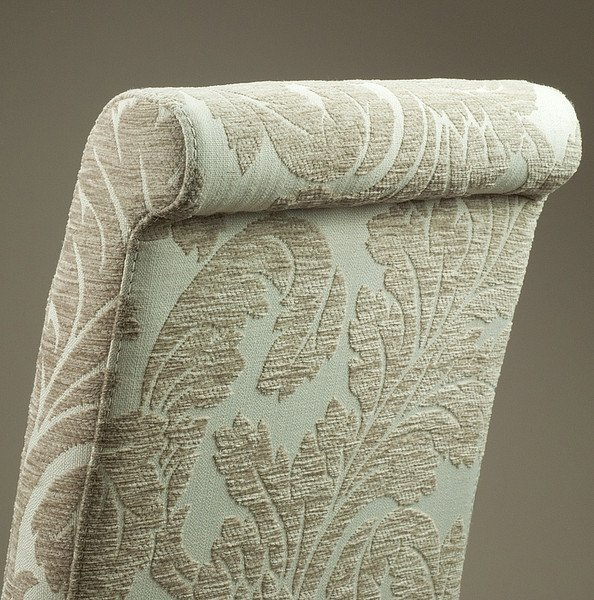 Scroll Back Patterned Beige Fabric Dining Chair With Solid