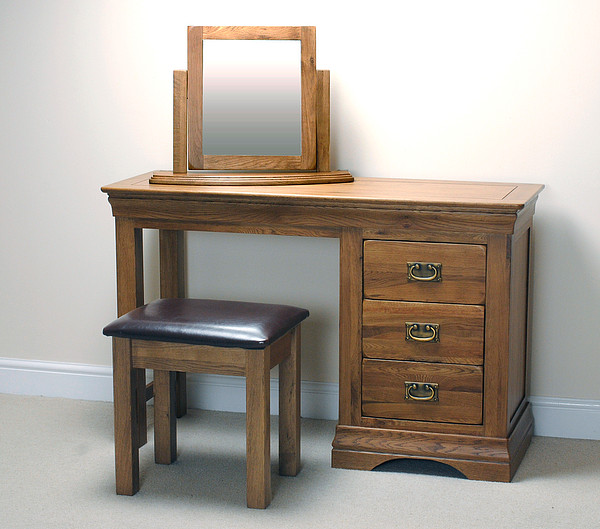 French Farmhouse Solid Oak Dressing Table Swivel Mirror and Stool Set